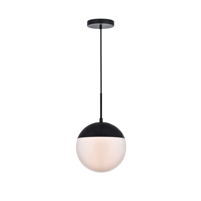 Living District Eclipse 1 Light Black Pendant with Frosted White Glass (LD6032BK)