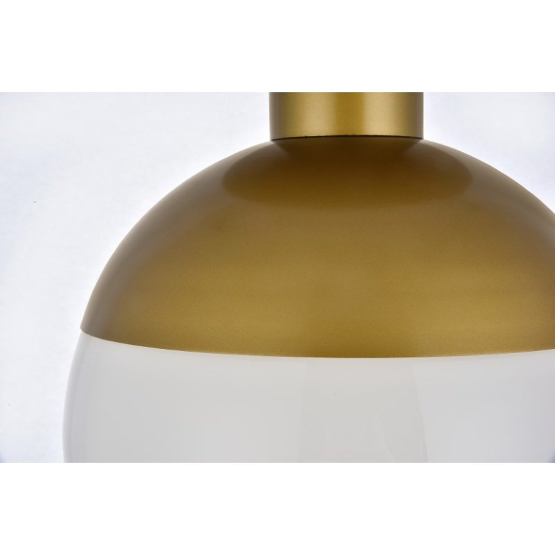 Living District Eclipse 1 Light Brass Flush Mount with Frosted White Glass (LD6060BR)
