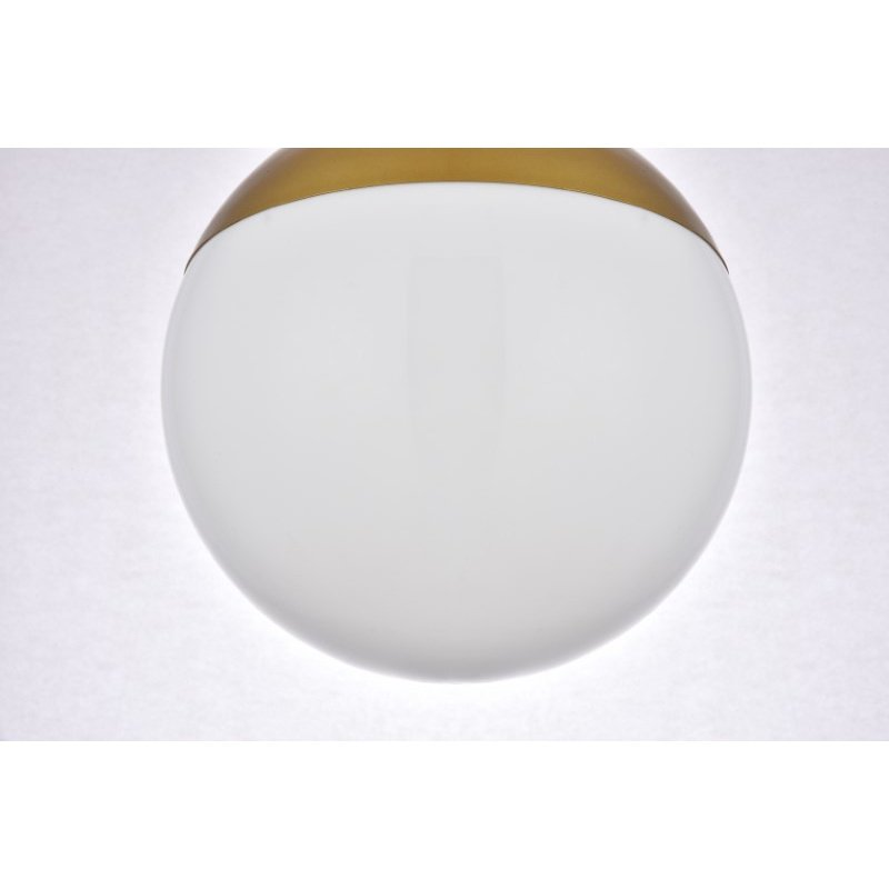 Living District Eclipse 1 Light Brass Flush Mount with Frosted White Glass (LD6066BR)