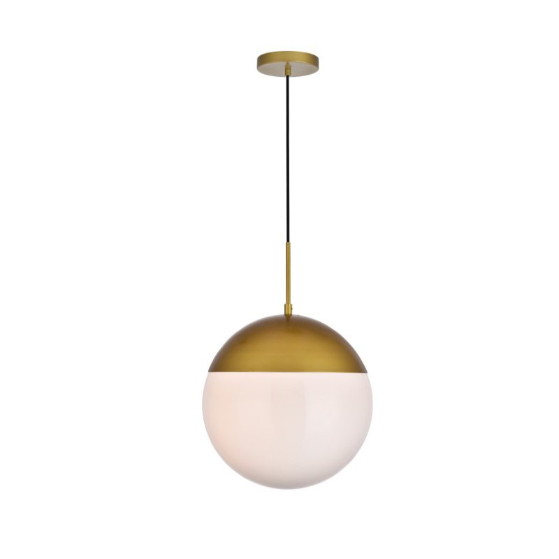 Living District Eclipse 1 Light Brass Pendant with Frosted White Glass (LD6048BR)