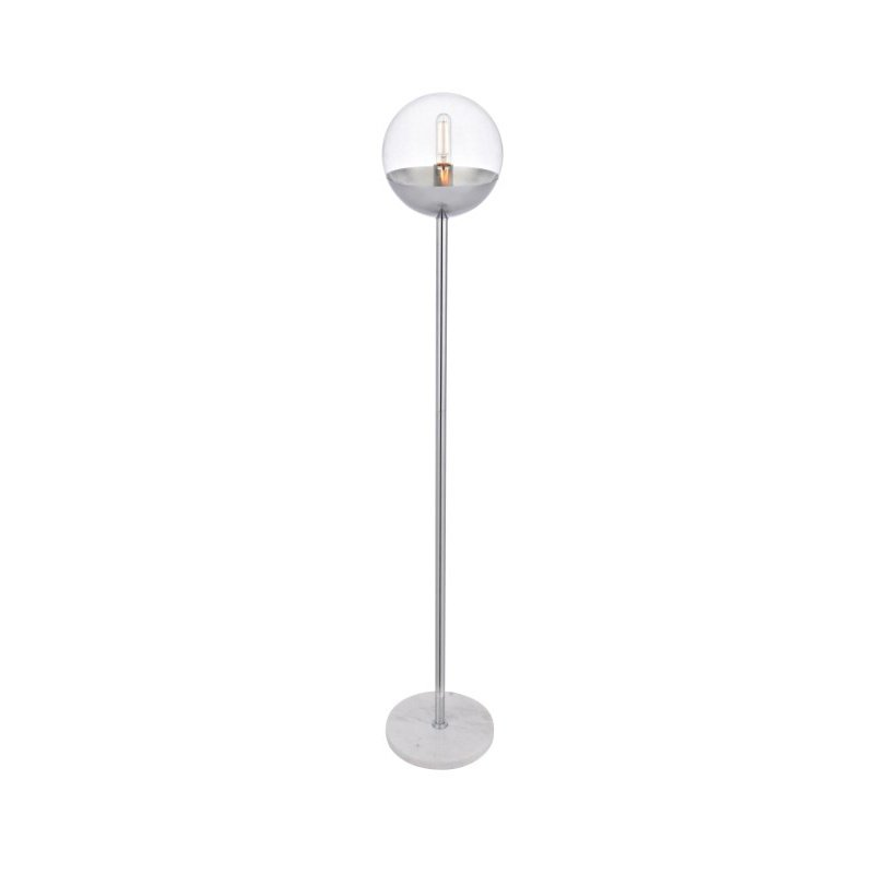 Living District Eclipse 1 Light Chrome Floor Lamp with Clear Glass (LD6149C)