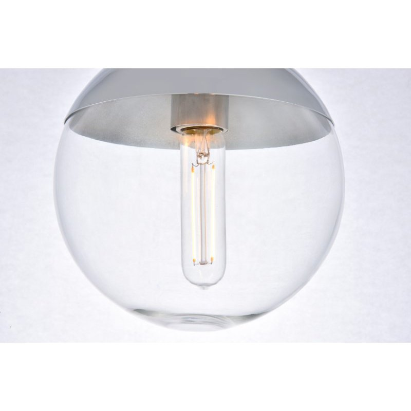 Living District Eclipse 1 Light Chrome Flush Mount with Clear Glass (LD6053C)