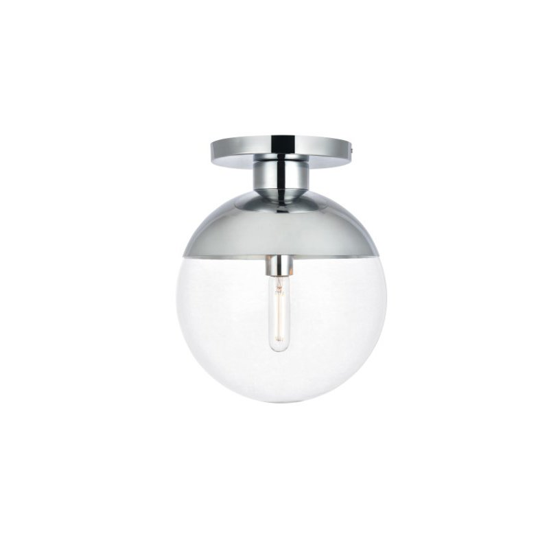 Living District Eclipse 1 Light Chrome Flush Mount with Clear Glass (LD6059C)