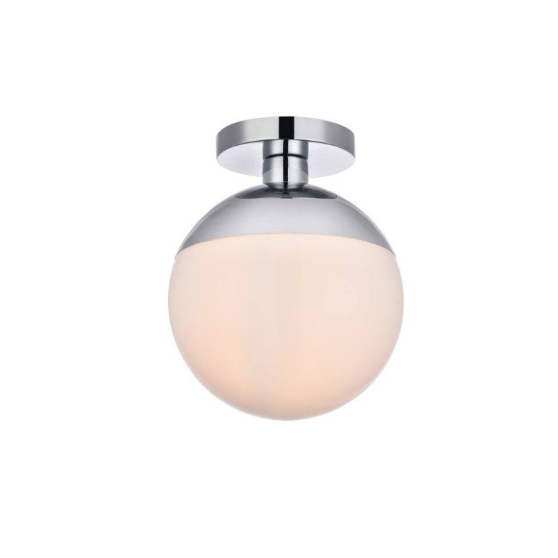 Living District Eclipse 1 Light Chrome Flush Mount with Frosted White Glass (LD6064C)
