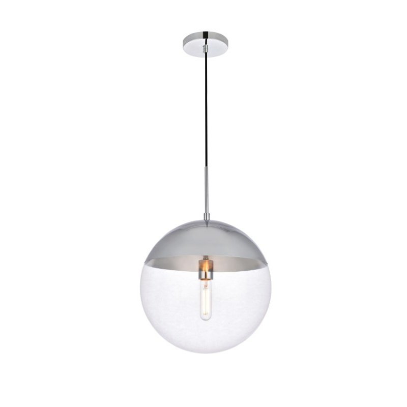 Living District Eclipse 1 Light Chrome Pendant with Clear Glass (LD6047C)