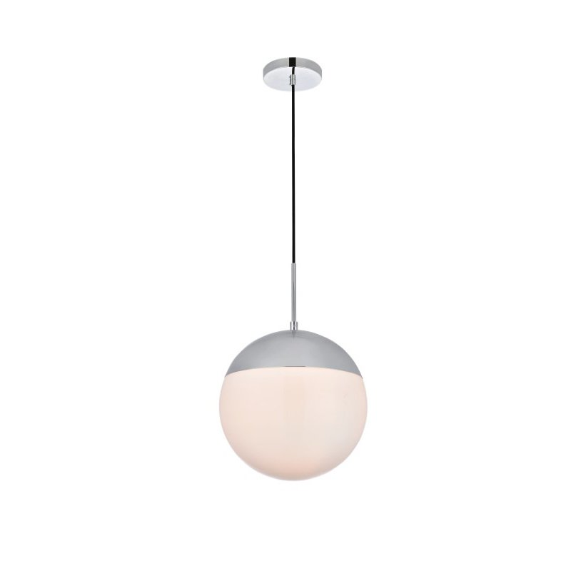 Living District Eclipse 1 Light Chrome Pendant with Frosted White Glass (LD6040C)