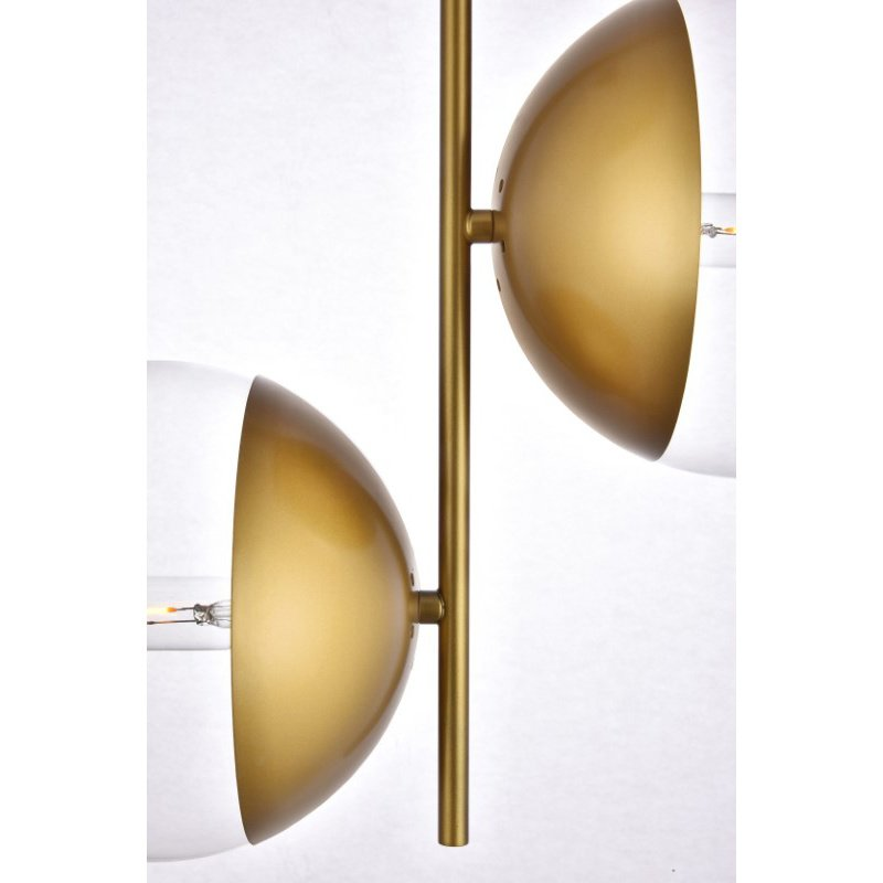 Living District Eclipse 2 Lights Brass Pendant with Clear Glass (LD6121BR)