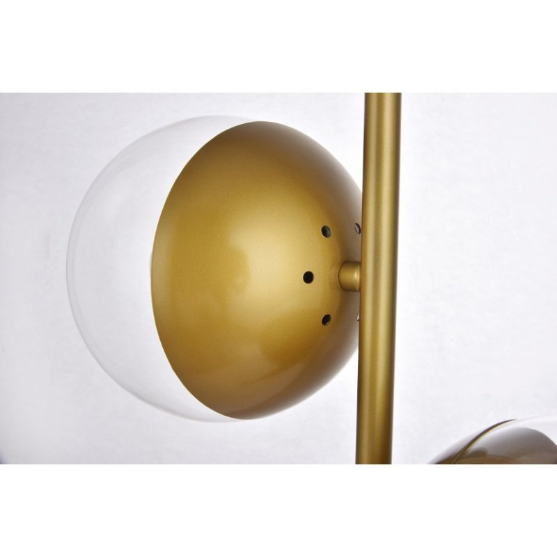 Living District Eclipse 2 Lights Brass Table Lamp with Clear Glass (LD6157BR)