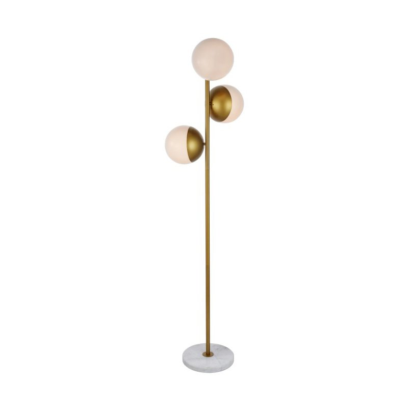 Living District Eclipse 3 Lights Brass Floor Lamp with Frosted White Glass (LD6162BR)