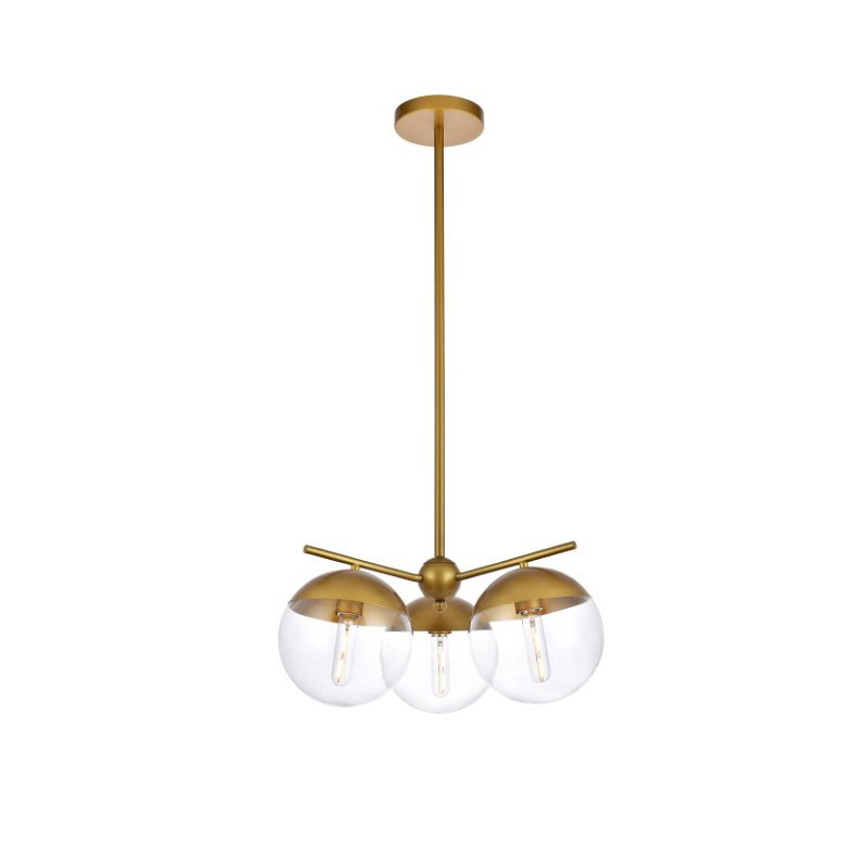 Living District Eclipse 3 Lights Brass Pendant with Clear Glass (LD6133BR)