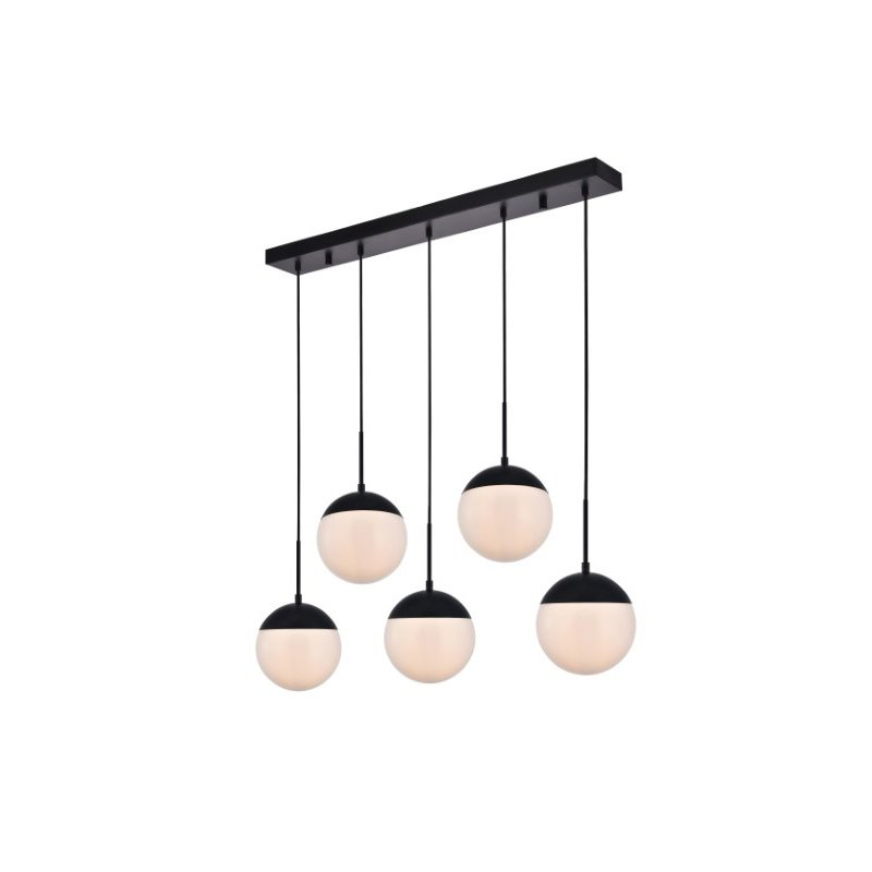 Living District Eclipse 5 Lights Black Pendant with Frosted White Glass (LD6080BK)