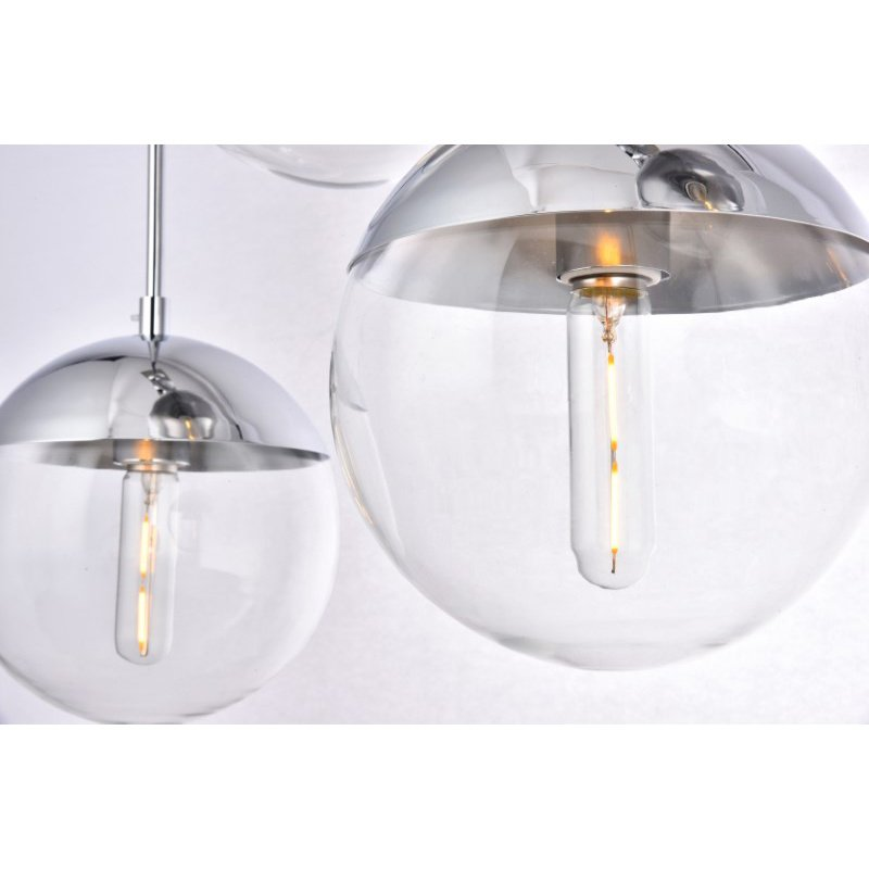 Living District Eclipse 5 Lights Chrome Pendant with Clear Glass (LD6083C)