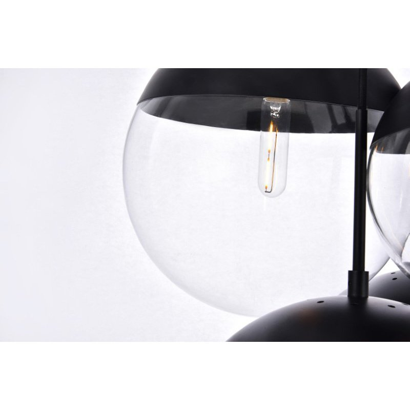 Living District Eclipse 6 Lights Black Pendant with Clear Glass (LD6093BK)