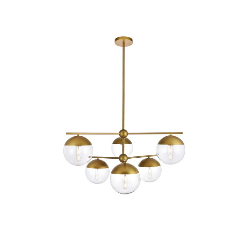 Living District Eclipse 6 Lights Brass Pendant with Clear Glass (LD6145BR)