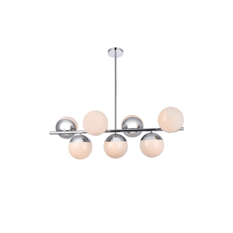 Living District Eclipse 7 Lights Chrome Pendant with Frosted White Glass (LD6136C)