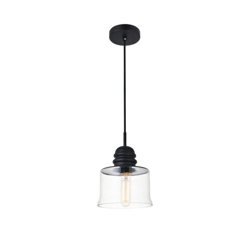 Living District Kenna 1 Light Black Pendant with Clear Glass (LD2253BK)