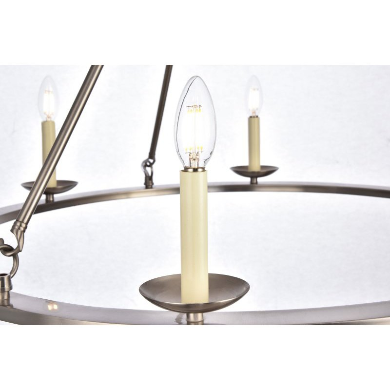 Living District Maine Collection Chandelier D32.4 H23.25 Lt-6 Burnished Nickel Finish (LD6010D32BN)