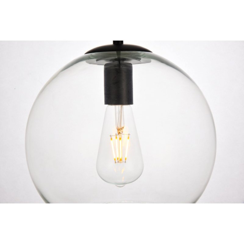 Living District Placido Collection Pendant D9.8 H9.8 Lt-1 Black and Clear Finish (LDPD2113)