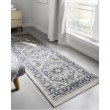 """Loloi II Athena ATH-01 Traditional Power Loomed 1' 6"""" x 1' 6"""" Sample Swatch Square Rug in Navy and Ivory (ATHEATH-01NVIV160S)"""