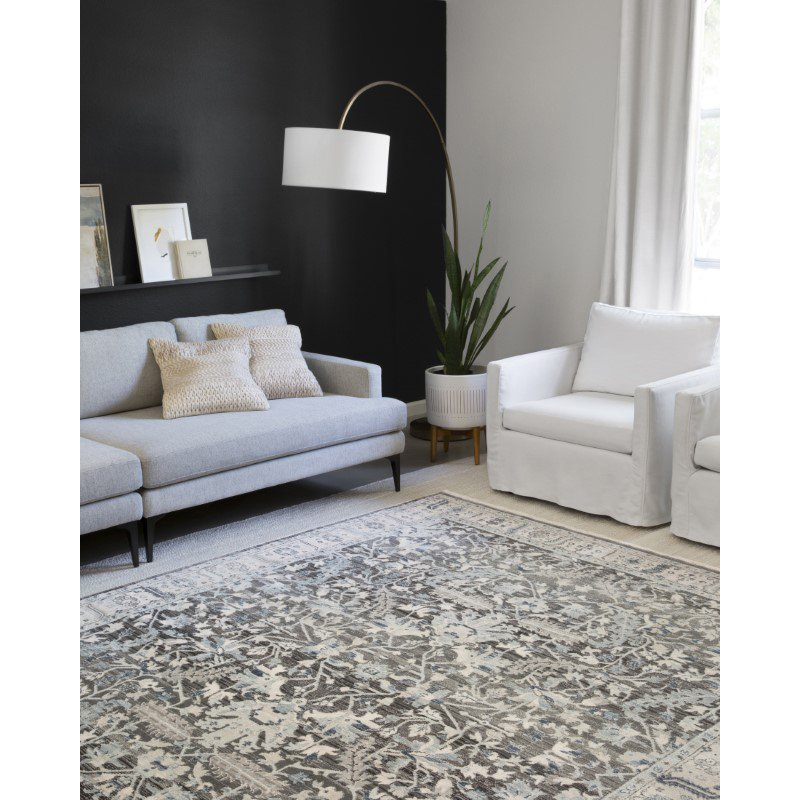 """Loloi II Athena ATH-03 Traditional Power Loomed 2' 3"""" x 3' 9"""" Rectangle Rug in Grey and Sky (ATHEATH-03GYSC2339)"""