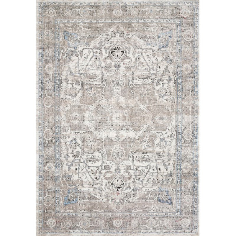 """Loloi II Dante DN-05 Transitional Power Loomed 7' 10"""" x 10' 6"""" Rectangle Rug in Ivory and Stone (DANTDN-05IVSN7AA6)"""