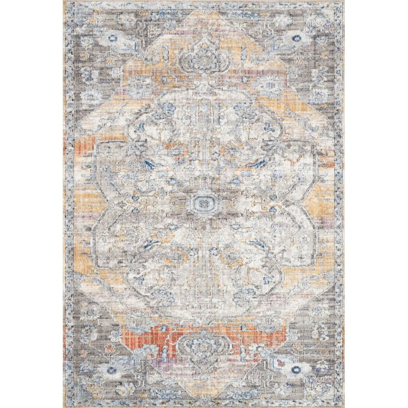 """Loloi II Dante DN-06 Transitional Power Loomed 6' 7"""" x 9' 2"""" Rectangle Rug in Natural and Sunrise (DANTDN-06NASR6792)"""