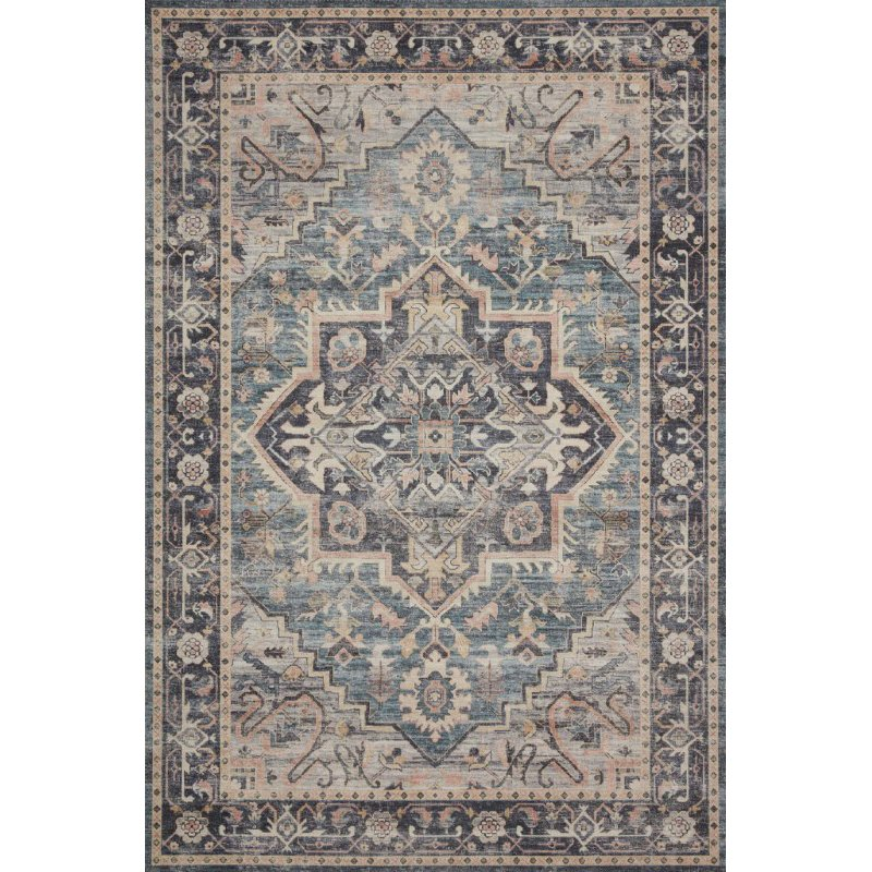 """Loloi II Hathaway HTH-01 Traditional Power Loomed 1' 6"""" x 1' 6"""" Sample Swatch Square Rug in Navy and Multi (HATHHTH-01NVML160S)"""