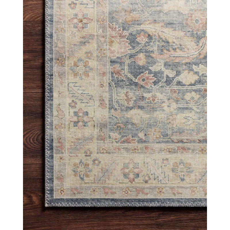 """Loloi II Hathaway HTH-02 Traditional Power Loomed 3' 6"""" x 5' 6"""" Rectangle Rug in Denim and Multi (HATHHTH-02DEML3656)"""