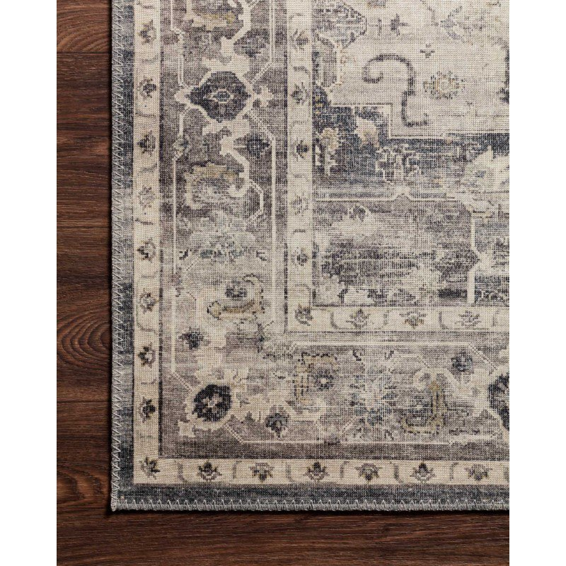 """Loloi II Hathaway HTH-05 Traditional Power Loomed 2' 6"""" x 7' 6"""" Runner Rug in Steel and Ivory (HATHHTH-05STIV2676)"""