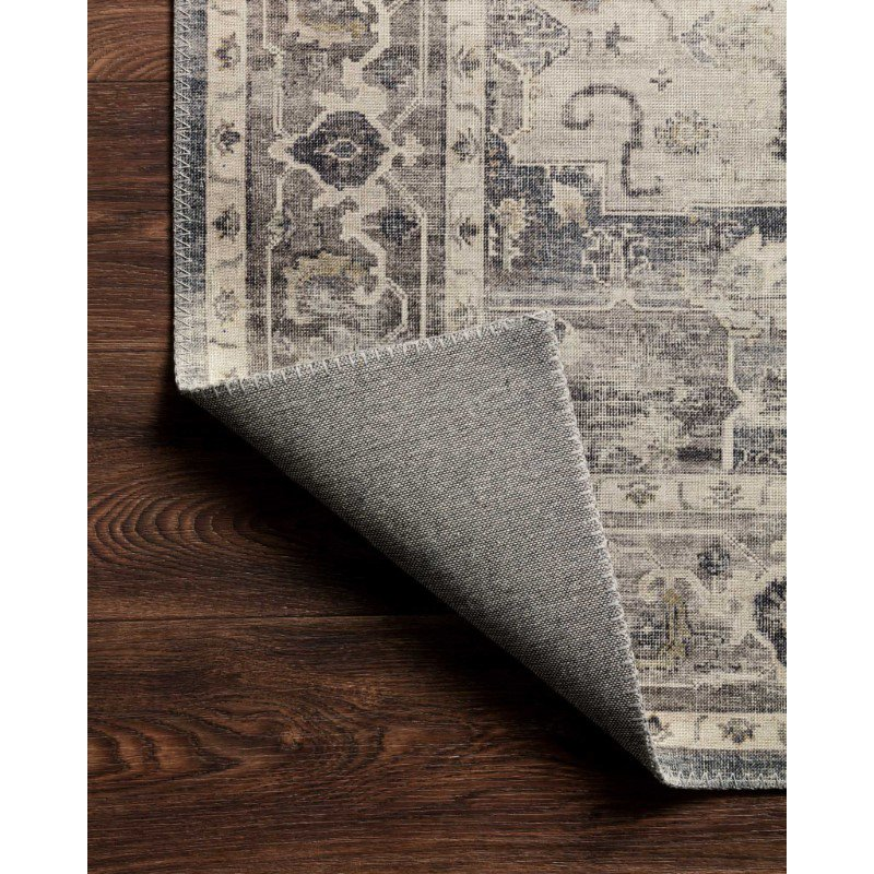 """Loloi II Hathaway HTH-05 Traditional Power Loomed 3' 6"""" x 5' 6"""" Rectangle Rug in Steel and Ivory (HATHHTH-05STIV3656)"""