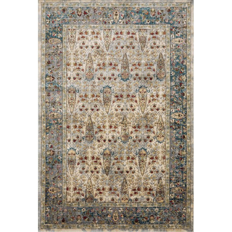 Loloi II Isadora ISA-03 Transitional Power Loomed 8' x 10' Rectangle Rug in Sand and Steel (ISADISA-03SAST80A0)