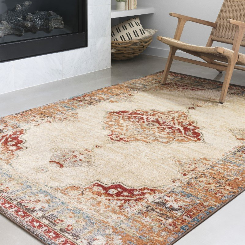 Loloi II Isadora ISA-04 Transitional Power Loomed 2' x 3' Rectangle Rug in Ant. Ivory and Sunset (ISADISA-04AISS2030)
