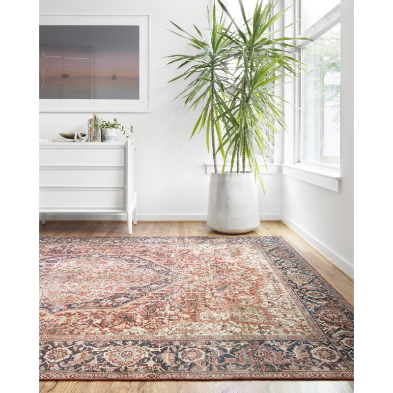 """Loloi II Layla LAY-08 2' 6"""" x 9' 6"""" Runner Rug in Red and Navy (LAYLLAY-08RENV2696)"""