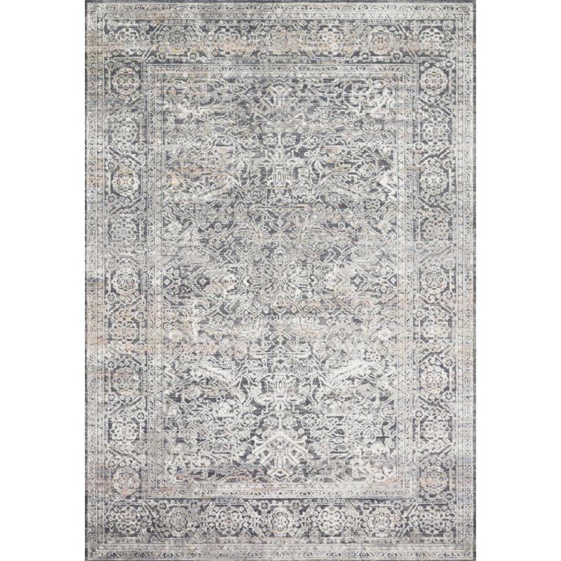 Loloi II Lucia LUC-03 Transitional Power Loomed 2' x 3' Rectangle Rug in Steel and Ivory (LCIALUC-03STIV2030)