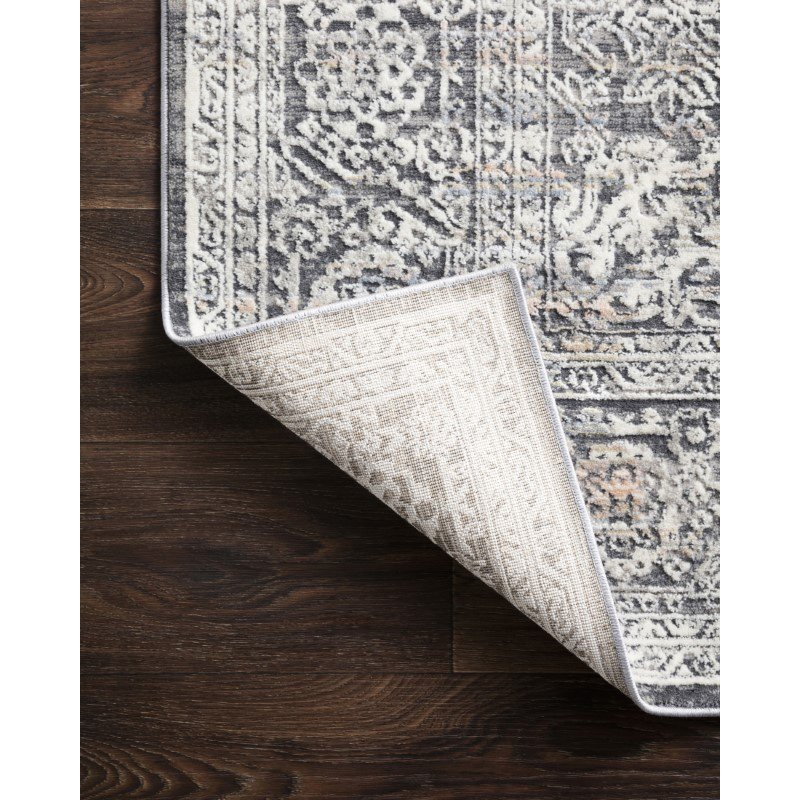 """Loloi II Lucia LUC-03 Transitional Power Loomed 6' 8"""" x 8' 8"""" Rectangle Rug in Steel and Ivory (LCIALUC-03STIV6888)"""