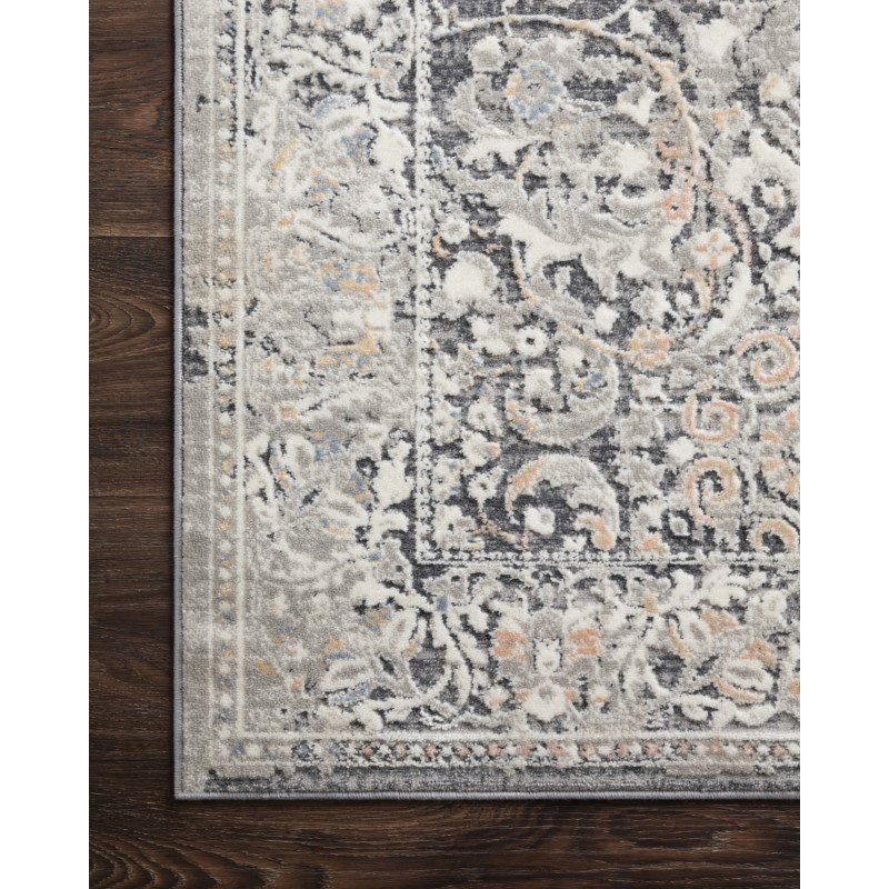 """Loloi II Lucia LUC-04 Transitional Power Loomed 1' 6"""" x 1' 6"""" Sample Swatch Rug in Grey and Mist (LCIALUC-04GYMI160S)"""