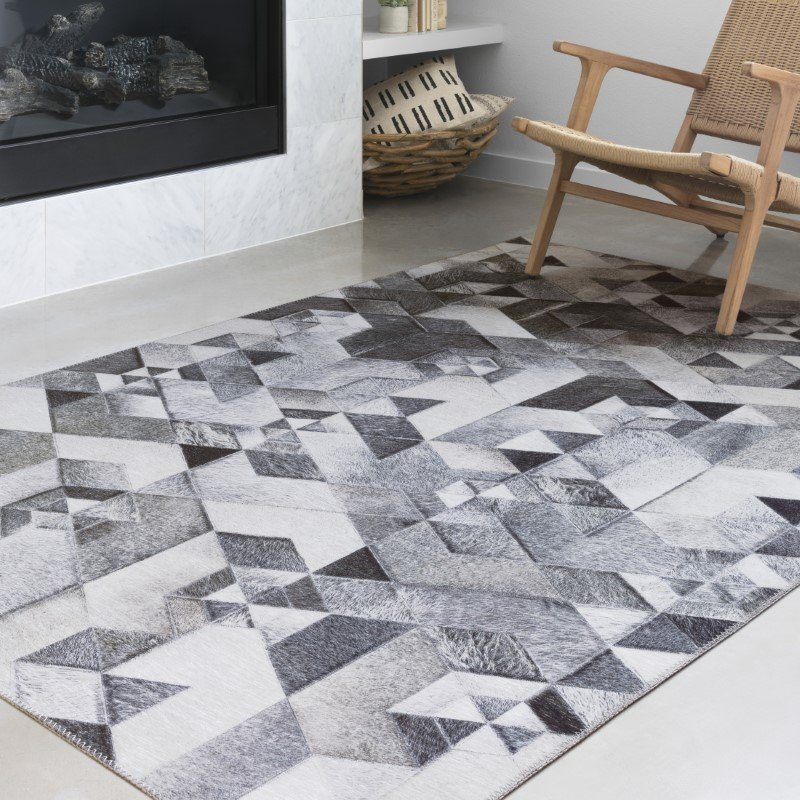 """Loloi II Maddox MAD-03 Contemporary Power Loomed 1' 6"""" x 1' 6"""" Sample Swatch Rug in Grey and Ivory (MADDMAD-03GYIV160S)"""