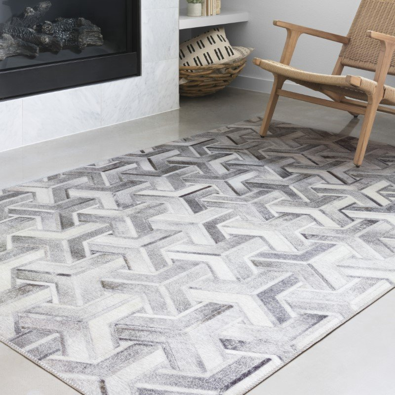 "Loloi II Maddox MAD-05 Contemporary Power Loomed 5' x 7' 6"" Rectangle Rug in Silver and Ivory (MADDMAD-05SIIV5076)"