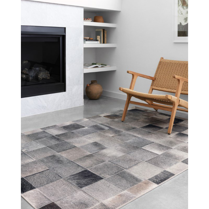 """Loloi II Maddox MAD-06 Contemporary Power Loomed 1' 6"""" x 1' 6"""" Sample Swatch Square Rug in Charcoal and Grey (MADDMAD-06CCGY160S)"""