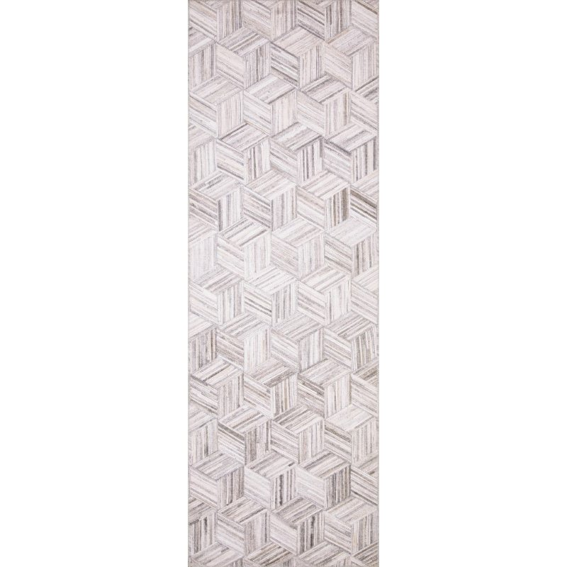 """Loloi II Maddox MAD-07 Contemporary Power Loomed 1' 6"""" x 1' 6"""" Sample Swatch Square Rug in Lt Grey and Ivory (MADDMAD-07LCIV160S)"""