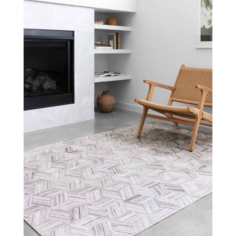 """Loloi II Maddox MAD-07 Contemporary Power Loomed 7' 6"""" x 9' 6"""" Rectangle Rug in Lt Grey and Ivory (MADDMAD-07LCIV7696)"""