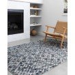 """Loloi II Maddox MAD-08 Contemporary Power Loomed 2' 3"""" x 3' 9"""" Rectangle Rug in Ocean and Grey (MADDMAD-08OCGY2339)"""