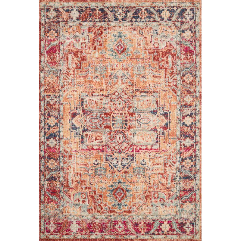 """Loloi II Nour NU-01 Power Loomed 6' 5"""" x 8' 8"""" Rectangle Rug in Lava and Navy (NOURNU-01LXNV6588)"""