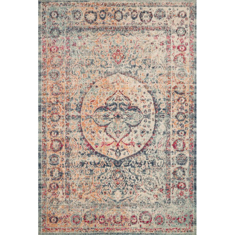 """Loloi II Nour NU-02 Power Loomed 2' 7"""" x 10' Runner Rug in Blue and Multi (NOURNU-02BBML27A0)"""