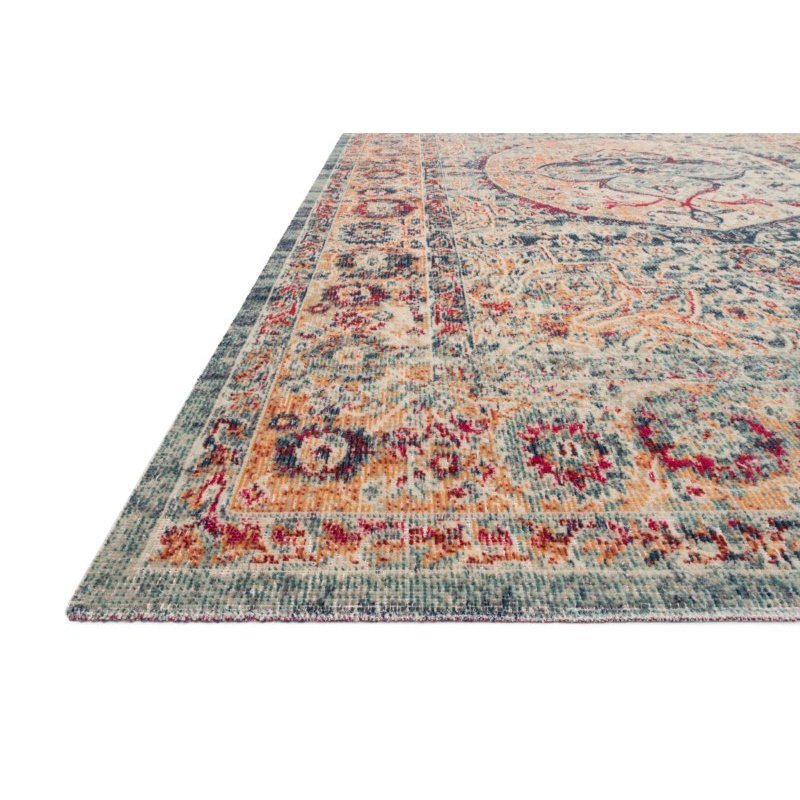 """Loloi II Nour NU-02 Power Loomed 6' 5"""" x 8' 8"""" Rectangle Rug in Blue and Multi (NOURNU-02BBML6588)"""