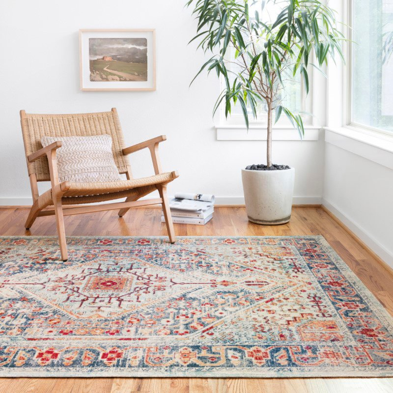 """Loloi II Nour NU-03 Power Loomed 5' 2"""" x 7' 7"""" Rectangle Rug in Blue and Fiesta (NOURNU-03BBFD5277)"""