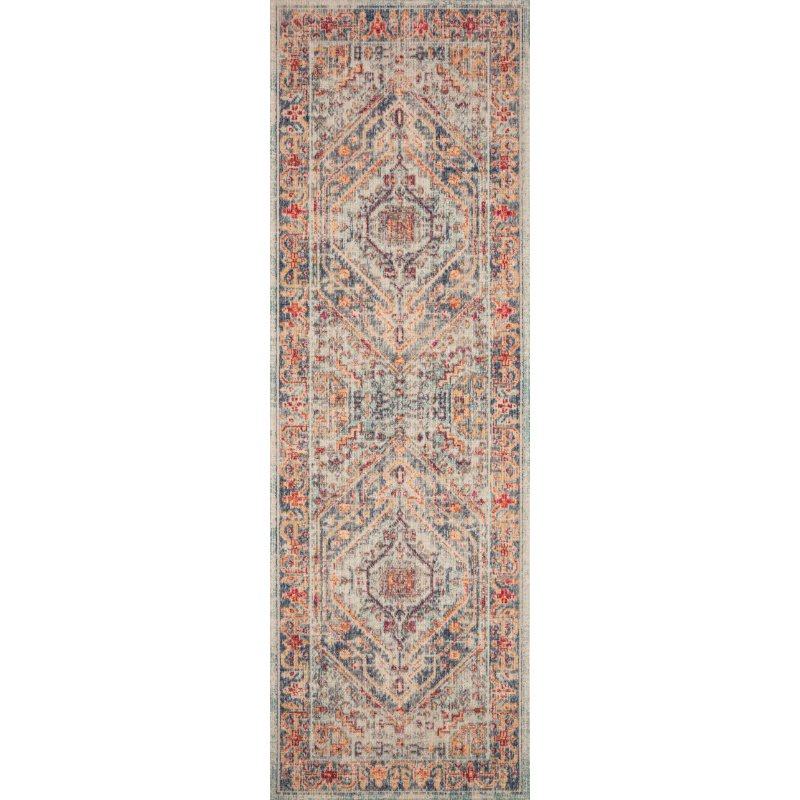 """Loloi II Nour NU-03 Power Loomed 6' 5"""" x 8' 8"""" Rectangle Rug in Blue and Fiesta (NOURNU-03BBFD6588)"""
