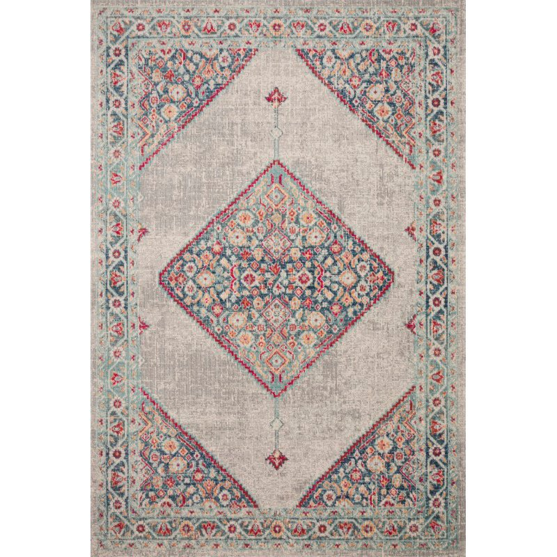 """Loloi II Nour NU-04 Power Loomed 1' 6"""" x 1' 6"""" Sample Square Rug in Stone and Multi (NOURNU-04SNML160S)"""