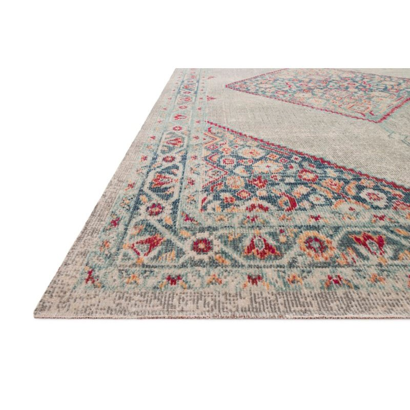 """Loloi II Nour NU-04 Power Loomed 5' 2"""" x 7' 7"""" Rectangle Rug in Stone and Multi (NOURNU-04SNML5277)"""