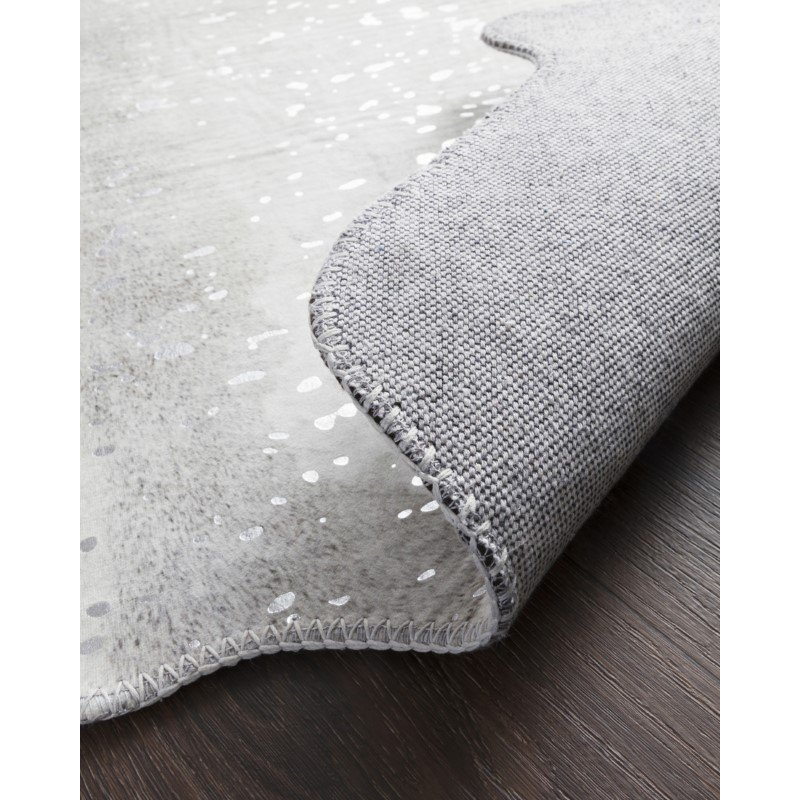 """Loloi II Odessa ODE-02 Contemporary Power Loomed 5' x 6' 6"""" Shaped Rug in Silver and Grey (ODESODE-02SIGY5066)"""